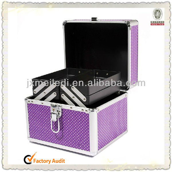 MLD-CC97 Fashional Durable Purple Beauty Aluminum Cosmetic Tool Box with salvers