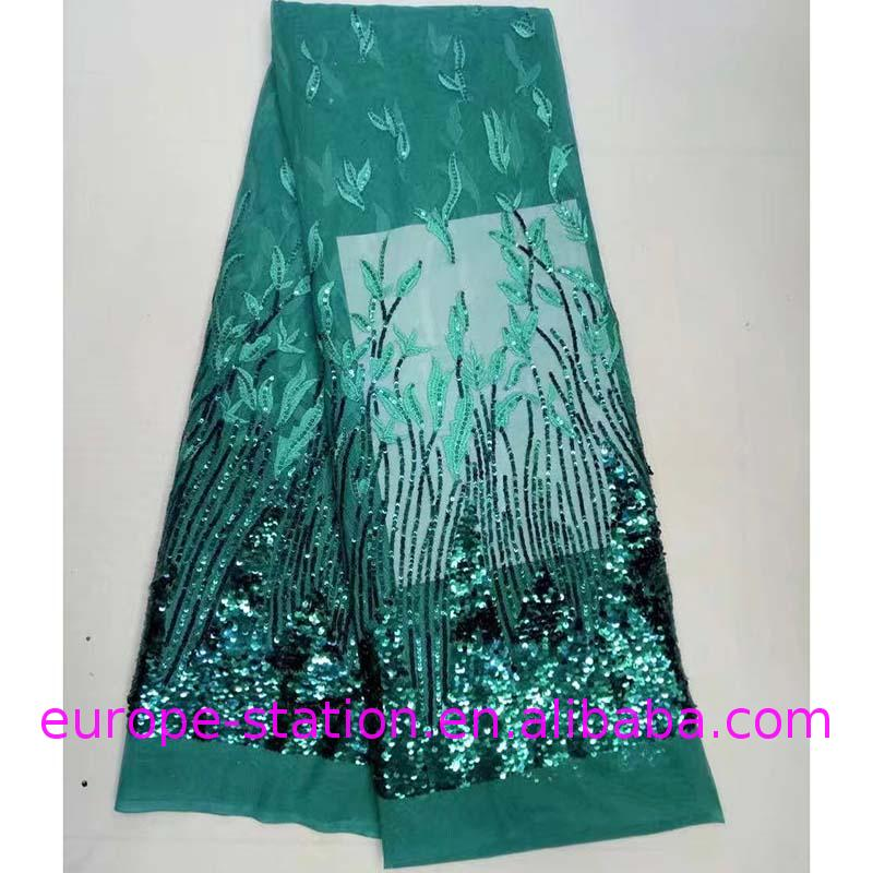 new arrival fancy green bridal embroidered tulle lace fabric sequin lace fabric