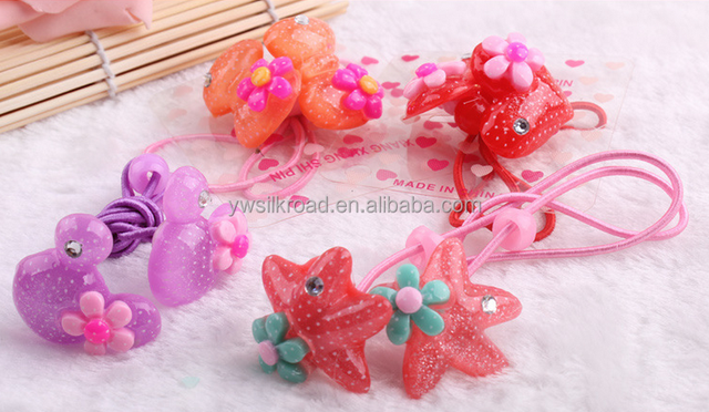 New fashion acrylic deer girls cartoon top quality rainbow elastic rubber hair bands for girls