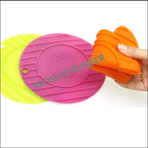 Household colored heat resistance round silicone cup pad/table mat
