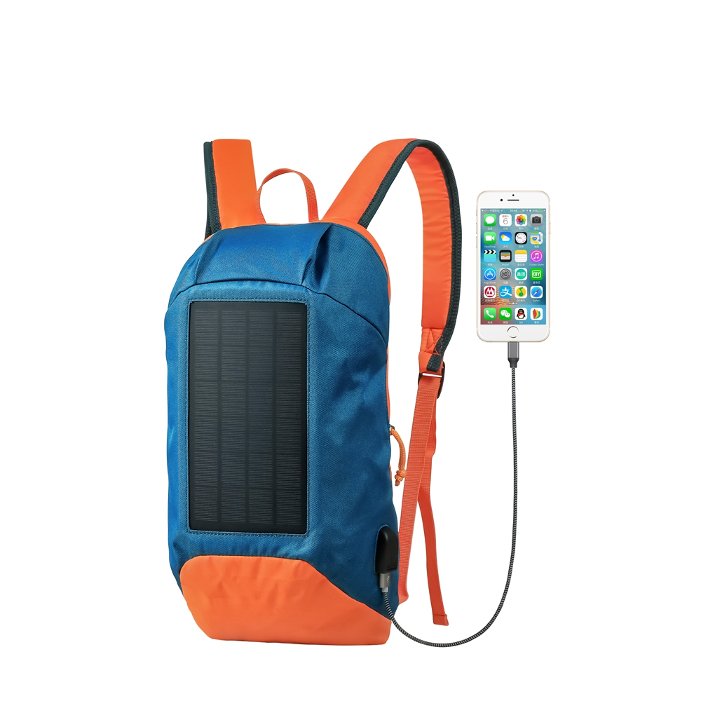 New Design Outdoor Day External Frame Polyester School Student Solar Backpack With Usb Charger Port and Light