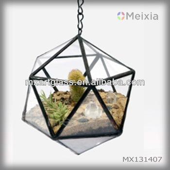 MX131407 tiffany style soldered cooper foil glass terrarium hanging for plant pot home decoration wholesale
