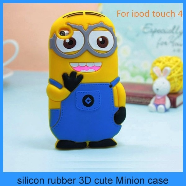 minion 3d silicone case despicable me minion case for touch 4 ipod touch 4 touch 5 (PT-i4208)