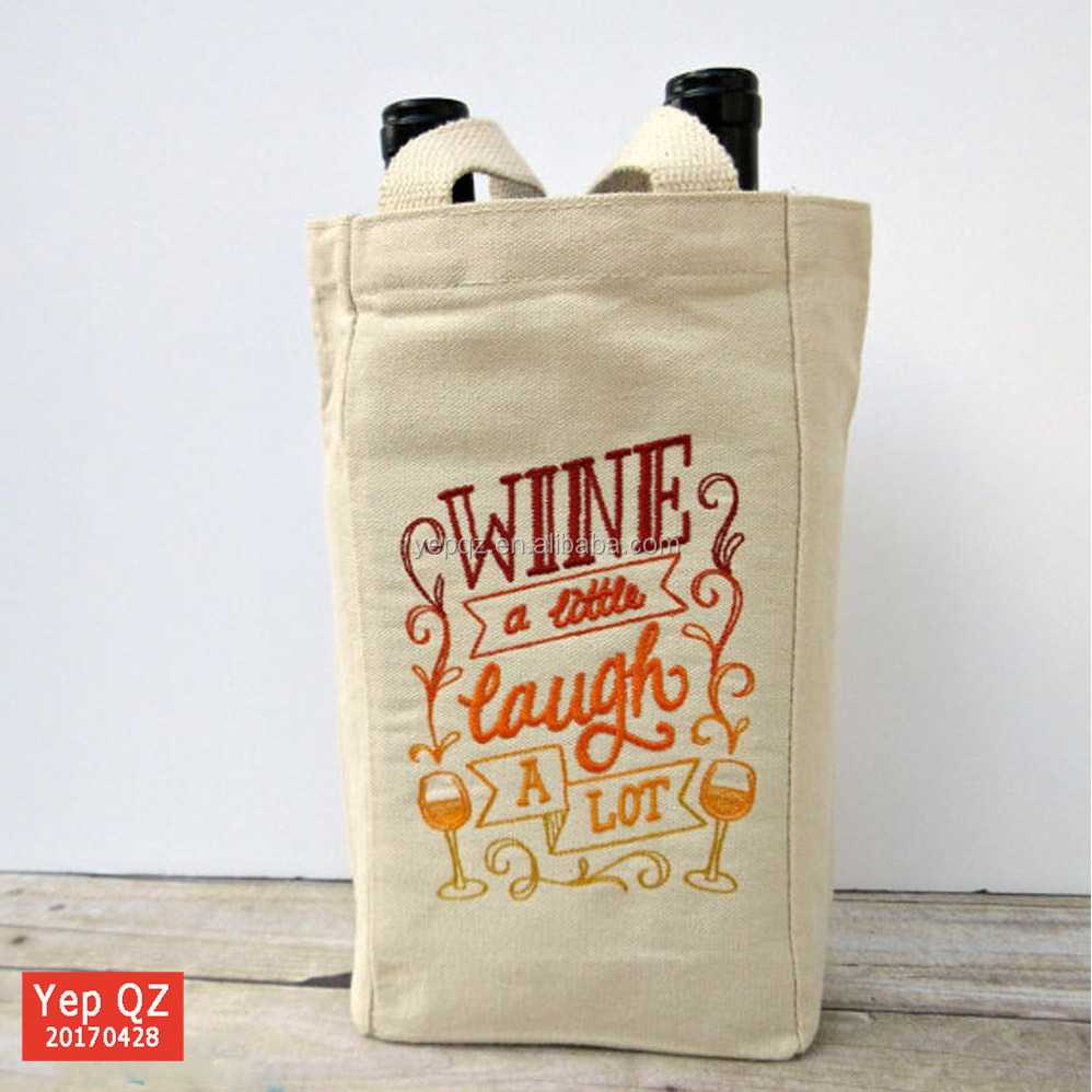 Wholesale natural recycled eco durable canvas tote double Wine Bottle Bags with custom embroidered logo