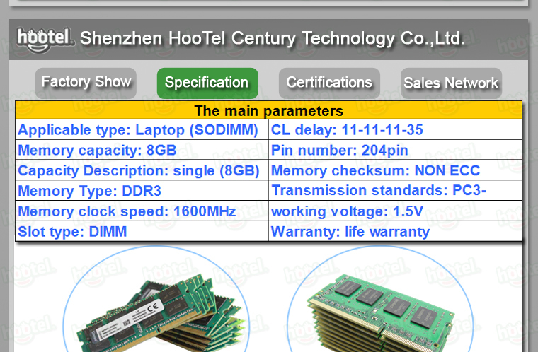 OEM laptop ddr3 8gb 1600mhz memory ram/original brand chip/compatible all motherboard