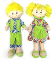 cute girl and boy plush rag doll with costume/stuffed rag doll plush toy/irst love doll fabric rag dolls for sale