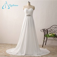 Chiffon Bandage Criss-Cross Pleats A-Line Wedding Gowns 2017 Bridal Dress