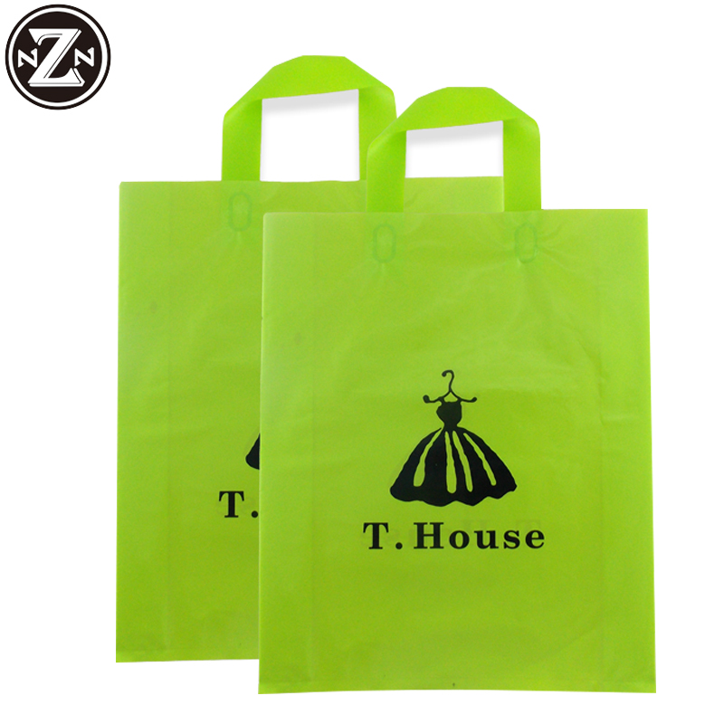 Custom logo printed pe plastic shopping bags eco friendly loop handle bag wholesale Guangzhou factory
