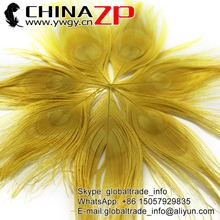CHINAZP Wholeasale Top Selling Special Colors Dyed Yellow Trimmed Short Peacock Feathers for Girls