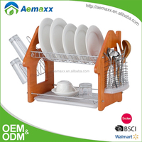 2 tier wooden stand and steel shelf kitchen dish rack for dish drying with plastic tray