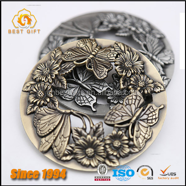 Guangdong Factory Custom Zinc Alloy Made Bronze Metal Butterfly and Flower Theme Candle Lid