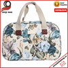 new fashion ! colorful floral pttern oilcloth+pu travel bag storage bag with canvas strap