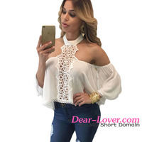 Cheap White Chocker Neck Bare Shoulders Flare Crop Top ladies new design fashion top