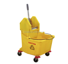 Large cleaning plastic water mop wringer mop bucket with wheels