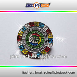 Custom Die Casting Colorful Soft Enamel Pin Badges back with butterfly clutch-round/1 inch
