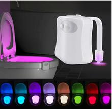 Toilet Night Light, Colorful Motion Activated Water Resistant Bathroom LED Toilet Bowl Night Light 8 Colors Changing