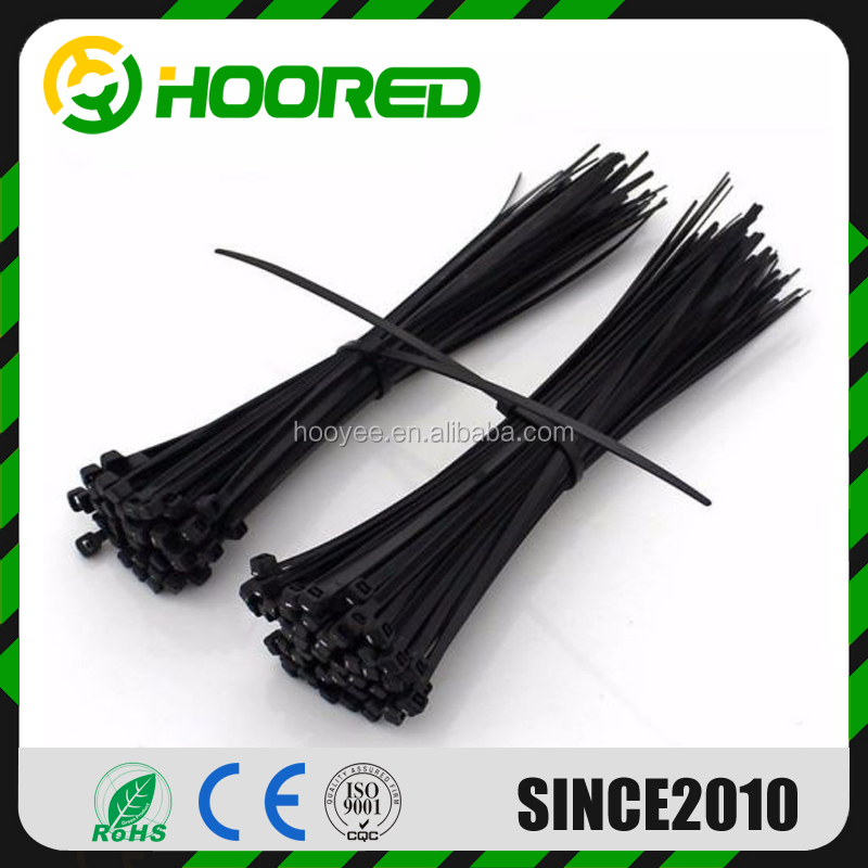 100package or 1000package nylon PA66 material UV black /Ultraviolet CE UL ROHS self-locking Nylon loop flexible nylon cable tie