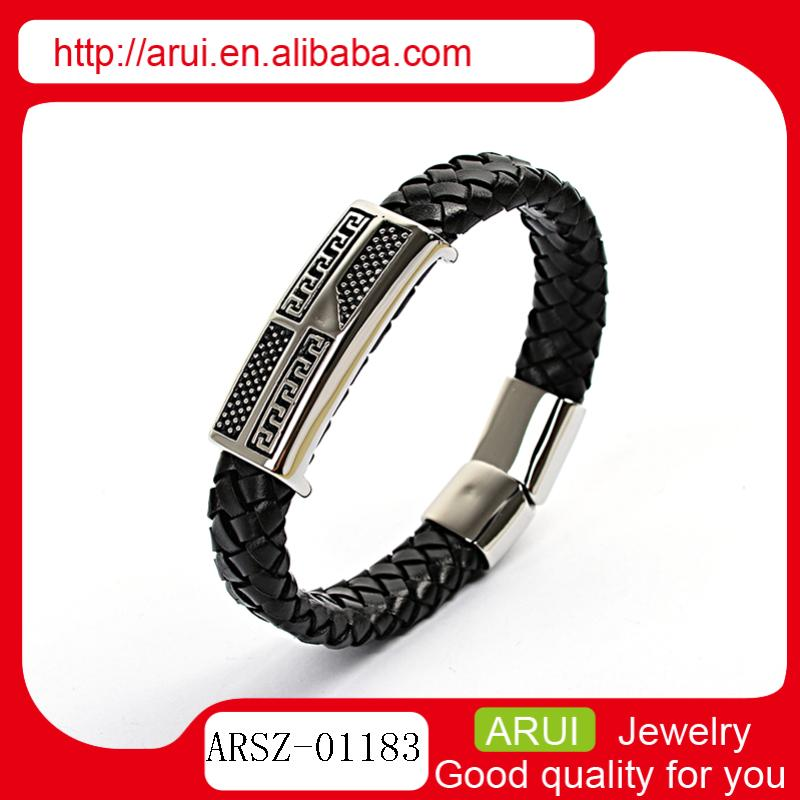2014 new products bisuteria wide braided leather bracelets for mens