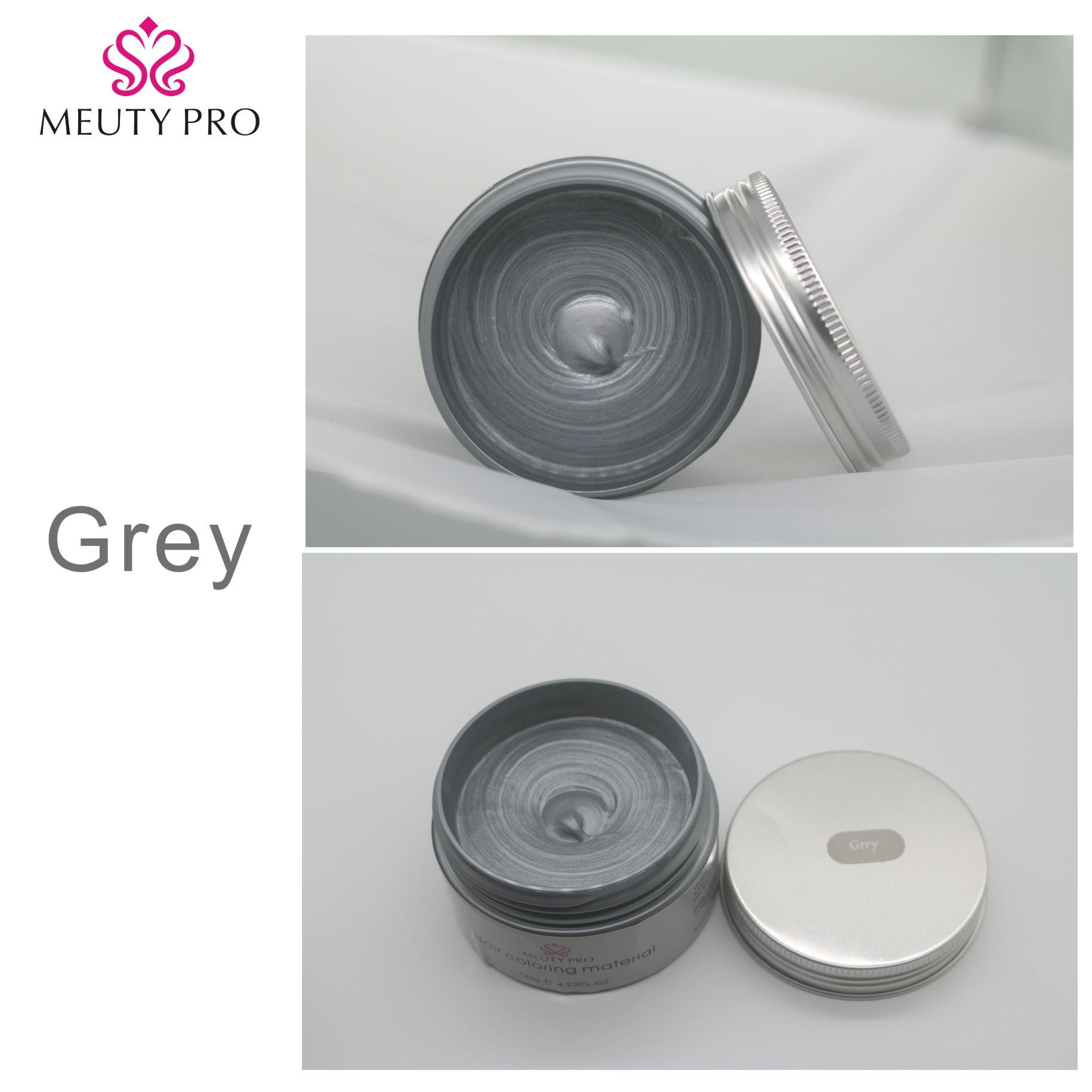 Meuty Pro OEM /ODM Color Hair Wax Styling Pomade Silver Grandma Grey Temporary Hair Dye Disposable Fashion Molding Coloring Mud