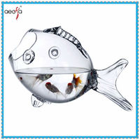 high quality fish shaped new design glass artificial fish tank