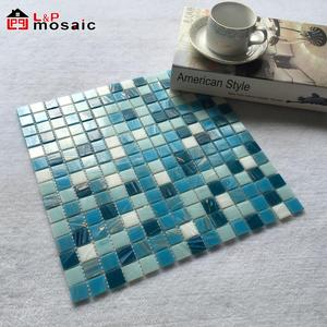 2018 Style selections gold line blue glass mosaic swimming pool tile
