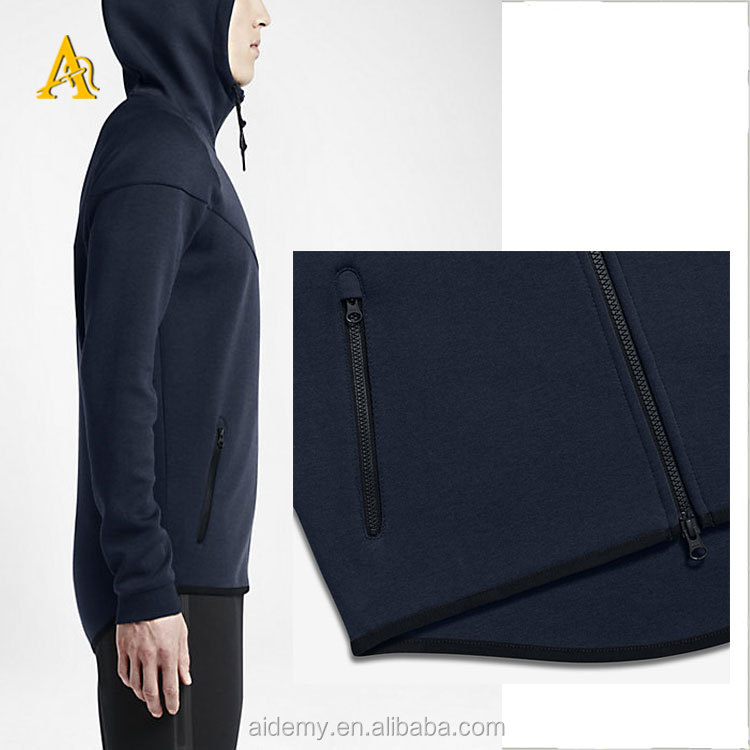 Hot selling cheap high quality zipper blank blue hoodies men big size clothing