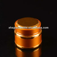 50Ml Luxury Round Cosmetic Glass Containers With Aluminium Cap