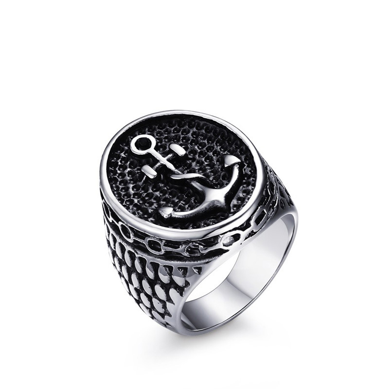 Wholesale Chic Silver Black Boy Charm Cool Stainless Steel Ring Jewelry Top Quality Classic Vintage Anchor Ring for Men