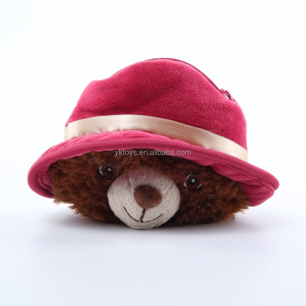 Customize lovely plush teddy bear wear a big hat and embroider eyes soft stuffed plush toy
