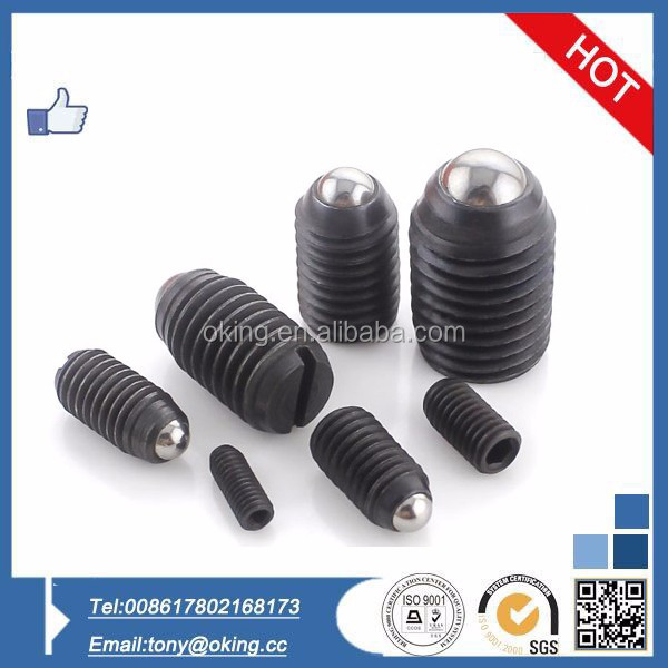 Black carbon steel ball plunger slotted set screw
