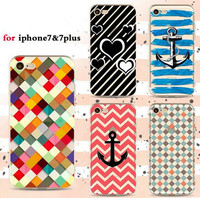 Fashion Customized Art painting Design Striped Anchor Printing pattern Soft Tpu phone case cover for iPhone 7/7 Plus