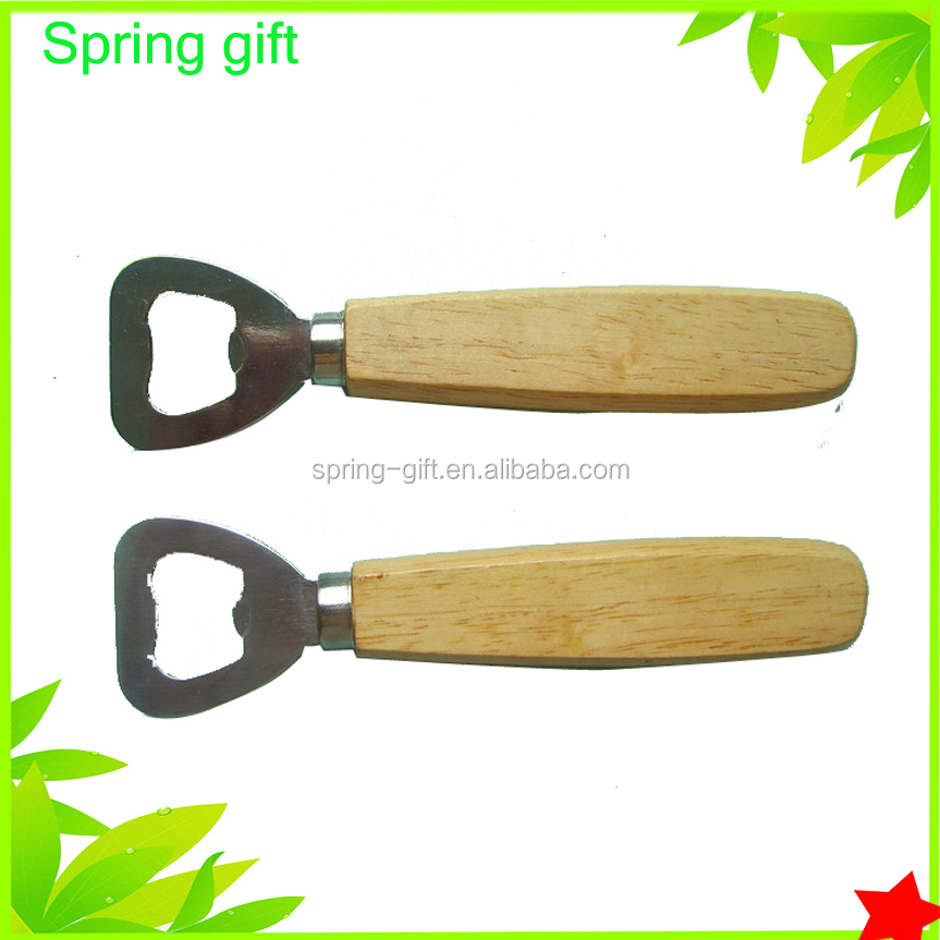 Wooden handle metal bottle opener