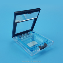 Transparent plastic square empty compact case with mirror