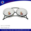 Wholesale cheap ceramic pet feeder with iron/metal stand,lovely ceramic pet feeder set