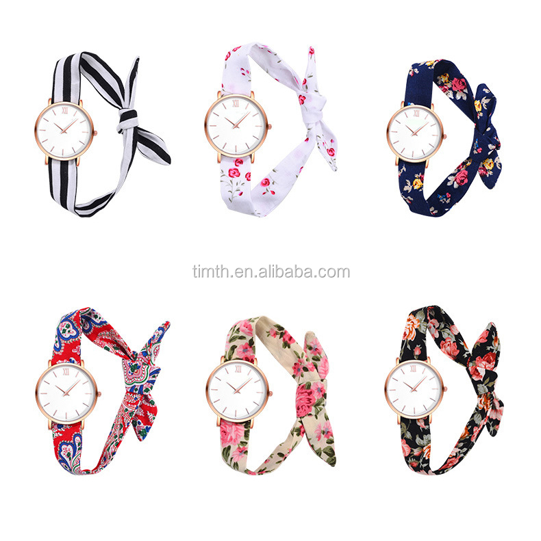 Ladies Vintage Silk Ribbon Fabric Band Bangle Watch