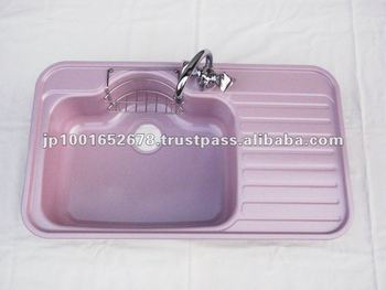 Color ceramic coating stainless steel kitchen sink purple for Colored stainless steel sinks