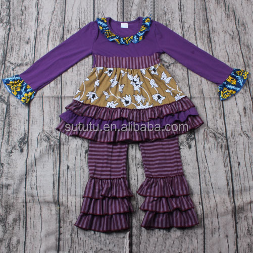 Lovely Girls Cotton Clothing Sets purple with ruffles and stripes urban clothing wholesale