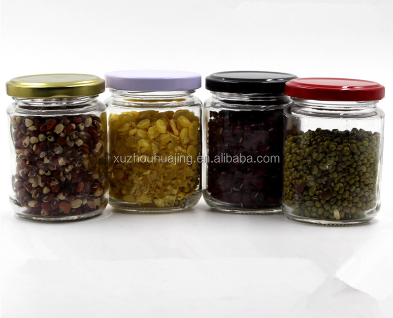 240g empty round glass food jars for jam and pickles with colored screw tin lids