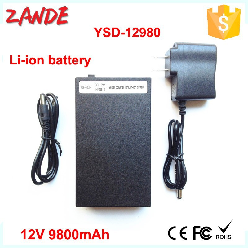 12V lithium battery YSD-12980 black 12Volt 9800mAh rechargeable polymer li ion battery pack