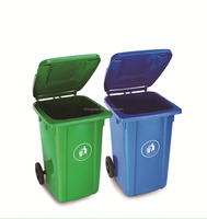 color coded garbage garden plastic dustbin with wheels with cover
