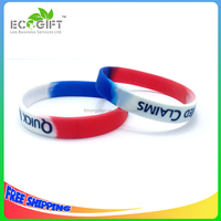 Custom segmented colors silicone bracelet with debossed ink-filled