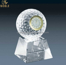 Custom Blank Corporate Table Crystal Golf Ball Clock With Base Award Souvenirs Gifts