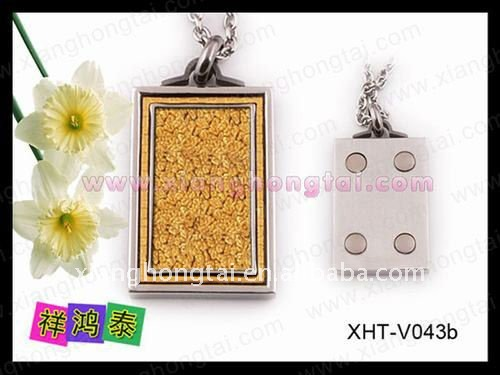 new stainless steel magnetic pendant/ scalar quantum 4 in 1 charm gold foil