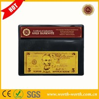 Most popular product US Banknote USD 5 Dollars, Gold bills banknotes for collection