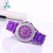 wholesale factory direct sale diamond silicone geneva watch,silicone jelly watch