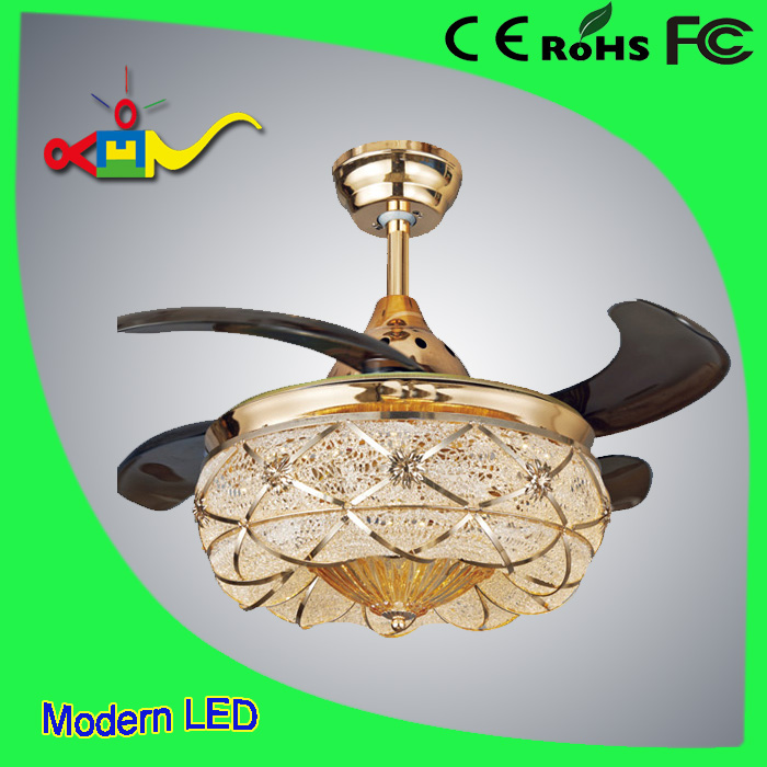 good price 42 ceiling fan with hidden blades with remote light crystal