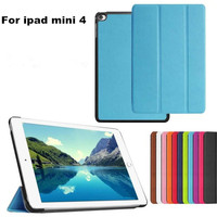 Leather Samrt Magnetic Case Folio Stand Cover For Apple iPad mini 4 Tablet PC