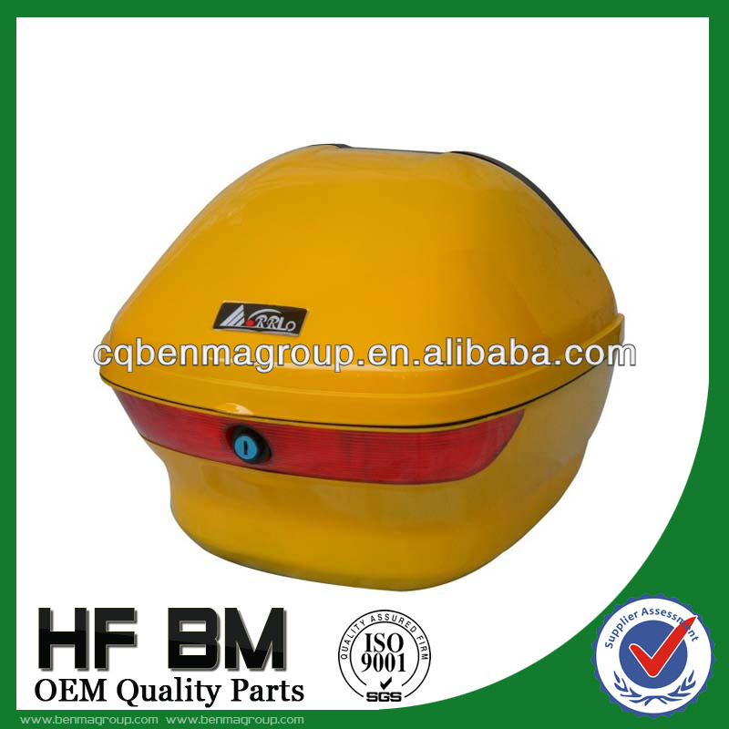 Yellow color motorcycle LINGYING rear box, tail box for motorcycle