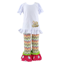 Newest push children clothes cartoon rabbit printing ruffles short sleeve shirts broken line printing horn trousers of outfits