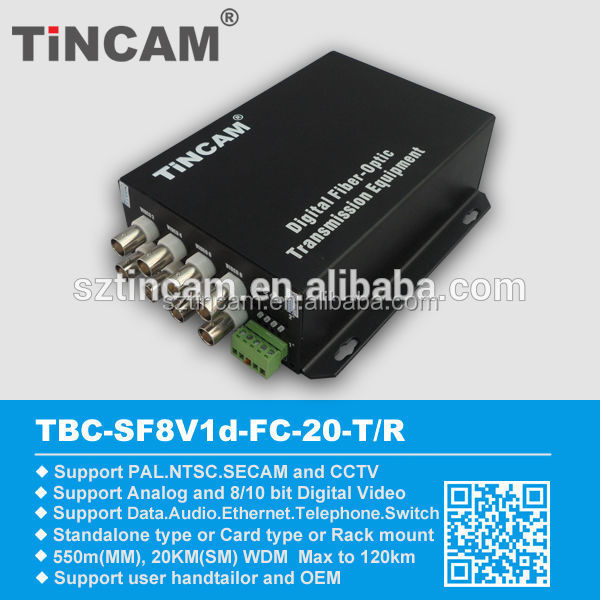 8channel Video Data Optical Fiber Transmitter And Recieiver Video/data/audio Digital Optical Converter